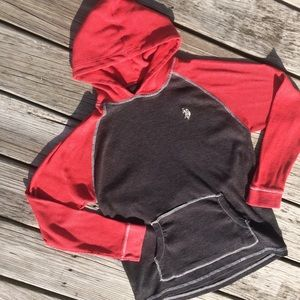 US Polo Assn Waffle Weave Thermal Hoodie Red Black